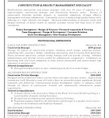 Examples Of Project Management Resumes Sample Construction Resumes