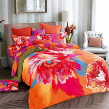 watercolor 3d chinese rose orange and purple bedding set for girls pertaining to comforter sets queen inspirations 13