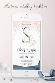 Electronic Save The Date Blush Navy Gold Electronic