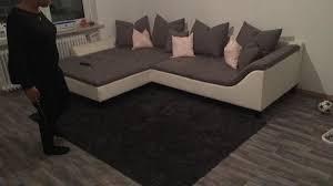 Couch Wohnlandschaft Sofa Grau Weiß