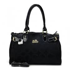 Coach Legacy In Signature Large Black Satchels BOW