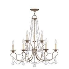 livex lighting providence 9 light ceiling antique silver leaf incandescent chandelier