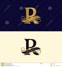 R Brand Design Gold Letter R Calligraphic Beautiful Logo With Tape For