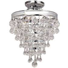 milton 3 light chrome crystal semi flushmount