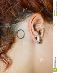 Girl Ear With Piercings And Tattoo Stock Photo Image Of Hairstyle