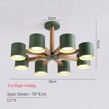 botimi wooden re iron lampshade nordic chandelier lamp with e27 bulb for living room suspendsion lighting fixtures high 8 lights white worldwide free