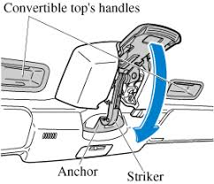 2018 mazda mx 5 owner s manual mazda usa make sure the striker engages the anchor move the top latch slowly and then push the top latch upward until a latch sound is heard