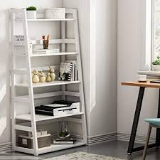 White modern bookshelf Room Dividers Tribesigns 5tier Bookshelf Modern Bookcase Freestanding Leaning Ladder Shelf With Sturdy Metal Frame Ebay Amazoncom Tribesigns 5tier Bookshelf Modern Bookcase
