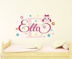 personalised flowery owl name wall decal
