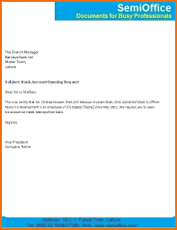 Bank Account Opening Letter For Company Employee Semioffice Com