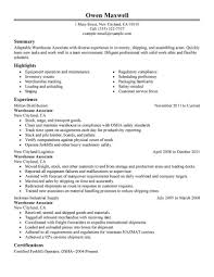 Resume Examples For Warehouse Position Examples Of Resumes
