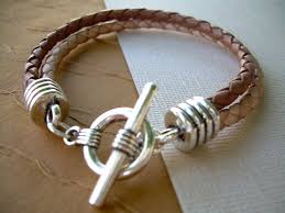 double strand mens braided leather bracelet saddle and natural braids leather bracelet mens