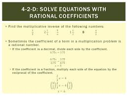 4 2 d solve equations with rational coefficients