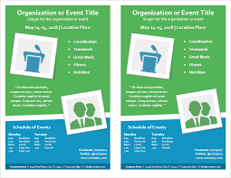 one page flyer template event flyer with multi day schedule 2 per page by vertex42 com