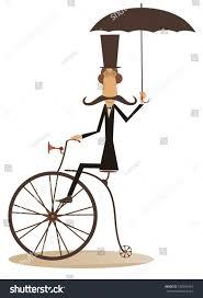 Cartoon Man Rides Bike Gentleman Mustache Stock Vector 538905454