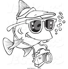Small Picture Vector of a Cartoon Fish Tourist Swimming with a Camera Coloring