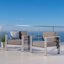 cape c outdoor aluminum club chair with cushions set of 2 by christopher knight