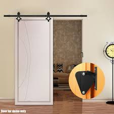 voilamart 2m sliding barn door hardware track set lock no joint for office bedroom interior closet