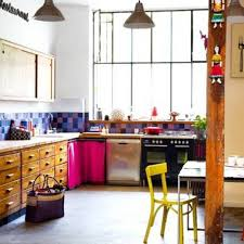 Eclectic Kitchen Eclectic Kitchen Style With Double Pendant Ighting And Purple