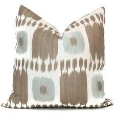 gilded drip throw pillow aqua tan kandira ikat decorative pillow covers x by popocolor