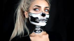 bone chilling half exposed skull and spine makeup