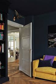 bedroom features walls painted farrow ball bedroom with walls and ceiling in hague blue and bookshelf in black bl