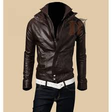 mens slim fit leather jacket double collar zip leather jacket