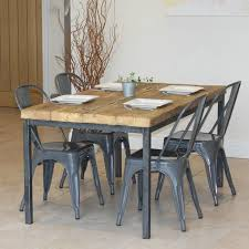 industrial style outdoor furniture. Reclaimed Timber Dining Table With Four Grey Industrial Style Chairs Set Outdoor Furniture I