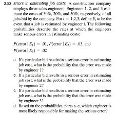 Estimating Job Solved 3 53 Errors In Estimating Job Costs A Constructio