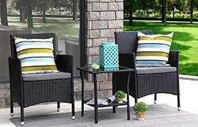 baner garden 3 pieces outdoor furniture plete patio cushion pe wicker rattan garden dining set