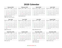 Printable Calendars 2020 With Holidays Blank Calendar 2020 Free Download Calendar Templates