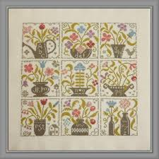 Festival Of Flowers Counted Cross Stitch Chart To Work In 9 Colours Of Dmc Stranded Cotton Flowers In Vases Sampler Abc Sampler Flower