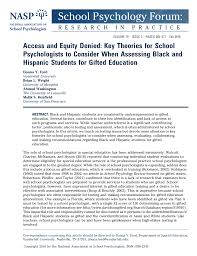 pdf access and equity denied key theories for psychologists to consider when essing black and hispanic students for gifted education