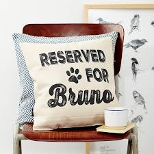 personalised reserved dog cushion