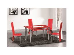 red glass dining table 6 seater set