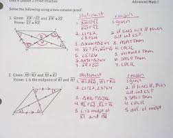 WeirsHonorsAdvancedMath1 - Congruent Triangle Proofs HW Answers