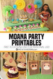 moana party printables including cupcake toppers and favor bags for personal use for free