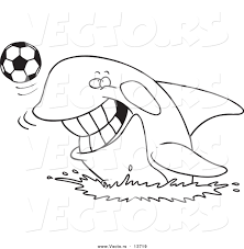 Small Picture Vector of a Cartoon Orca Playing with a Soccer Ball Coloring