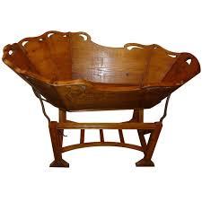 19th century italian baby cradle for fruitwood antique cradle