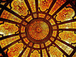 tiffany stained glass dome ceiling at the chicago cultural center