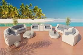 Savannah Resort Set 4 in White Viro Wicker and Stone Fabric Eco Friendly, Long  Lasting Viro Outdoor Wicker Patio Furniture.