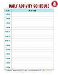 daily calendar template printable daycare weekly schedule template 5 day daycare daily schedule