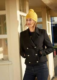 women short black pea coat