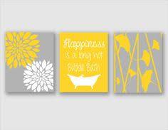 modern bath art modern floral flower artwork set of 3 trio prints yellow and gray bathroom wall art bathroom decor bathroom art on yellow bathroom wall art with bathroom wall art relax soak unwind bathroom wall decor prints home