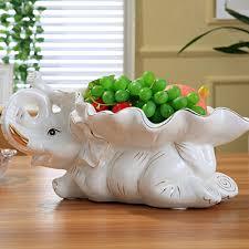 Tray Decoration For Baby Novel Ceramics Baby Elephant Statue Fruits Plate Decorative 64