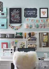 home office craft room. a beautiful colorful craft room office wall with pegboard for storage baskets diy home