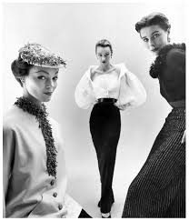 "Ivy Nichols, Sophie Malagat Litvak and ""Bettina"" in Givenchy's  interchangeable tops and skirts, photo by Nat Farbman, Feb. 1… 