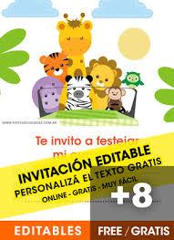 Aplicaciones Para Hacer Invitaciones Gratis 8 Invitaciones De Animalitos De La Selva Gratis Free Para