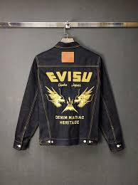 Evisu Jeans Size Chart Dragon Head Embroidered Denim Jacket Evisu Mens Jacket