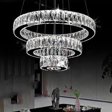 ac100 240v modern led chandeliers long crystals diamond ring led lamp stainless steel hanging light fixtures cristal led re chandelier chandelier